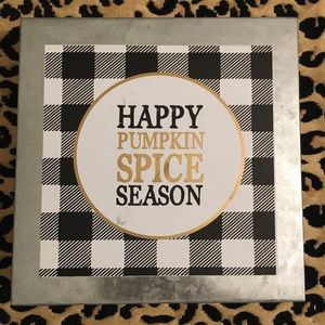 Other - Pumpkin Spice Season Metal Box Sign Buffalo Check
